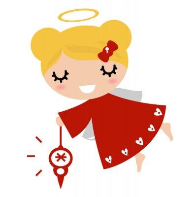 Sticker La fille adorable d'ange avec une décoration de Noël (rouge)