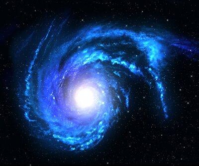 Sticker La galaxie en spirale dans l'espace lointain avec la star fond de champ.