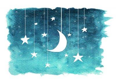 Sticker La lune et les étoiles suspendus à des cordes peintes à l'aquarelle sur fond isolé blanc, fond de ciel de nuit