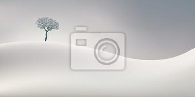 Sticker La saison d'hiver symbolisée par un paysage d'un blanc immaculé avec un arbre sans feuille au sommet d'une colline enneigée.