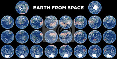 La Terre depuis l'espace. Ensemble d'images satellites de la planète Terre. Photo réaliste de la Terre ci-dessus. Vue de l'espace des hémisphères. Texture de la Terre. Éléments de cette image fournis