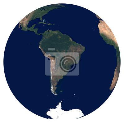 La Terre depuis l'espace. Grande image satellite de la planète Terre. Photo de globe. Carte physique isolée de l'Amérique du Sud (Brésil, Colombie, Argentine, Pérou, Chili). Éléments de cette image fo