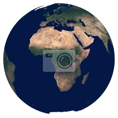 La Terre depuis l'espace. Image satellite de la planète Terre. Photo de globe. Carte physique isolée de l'Afrique (Nigeria, Egypte, Afrique du Sud, Algérie, Maroc, Angola). Éléments de cette image fou