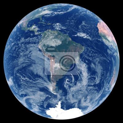 La Terre depuis l'espace. Image satellite de la planète Terre. Photo de globe. Carte physique isolée de l'Amérique du Sud (Brésil, Colombie, Argentine, Pérou, Venezuela). Éléments de cette image fourn