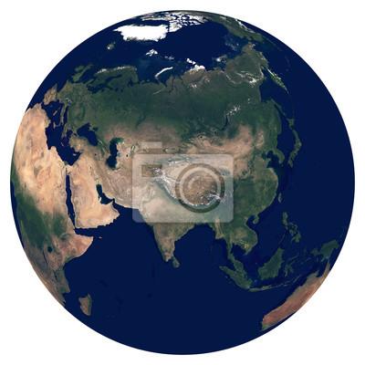 La Terre depuis l'espace. Image satellite de la planète Terre. Photo de globe. Carte physique isolée de l'Eurasie (Chine, Russie, Inde, Turquie, Japon, Indonésie, Allemagne). Éléments de cette image f