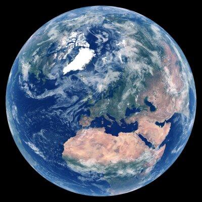 La Terre depuis l'espace. Image satellite de la planète Terre. Photo de globe. Carte physique isolée de l'Europe (UE: Allemagne, France, Italie, Royaume-Uni (UK), Pologne). Éléments de cette image fou