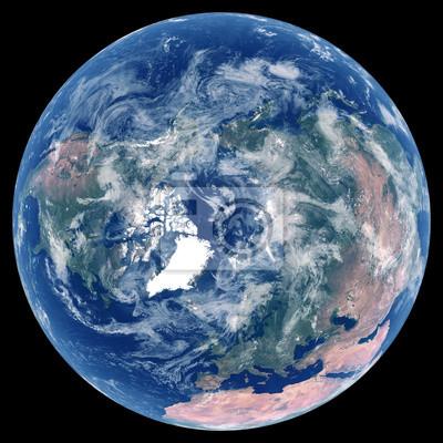 La Terre depuis l'espace. Image satellite de la planète Terre. Photo de globe. Carte physique isolée de l'hémisphère Nord (Europe, Asie, Amérique du Nord, pôle Nord). Éléments de cette image fournis p