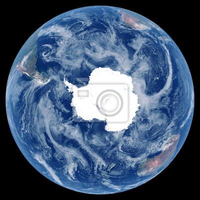 La Terre depuis l'espace. Image satellite de la planète Terre. Photo de globe. Carte physique isolée de l'hémisphère Sud (Antarctique, pôle Sud). Éléments de cette image fournis par la NASA.