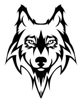 Sticker la tête de loup Belle tattoo.Vector loup comme un élément de design sur fond isolé