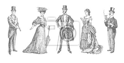 Sticker ladies and gentlemen. Man and woman figure collection. Victorian Clothing. Vintage Hand Drawn Set. Retro Illustration in ancient engraving style
