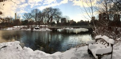 Lake and Bow bridge at Central Park with snow in evening winter