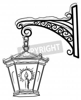 Sticker Lampadaire Vintage brillant dans la neige, suspendu sur un support décoratif. Contours.
