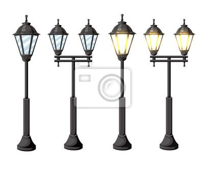 Sticker Lampadaires vintage Lampes de réverbère rétro Vector isolés sur fond blanc isolé sur fond blanc Page de site Web et de conception d'applications mobiles