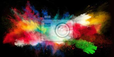 Sticker Lancement, coloré, poudre, noir, fond