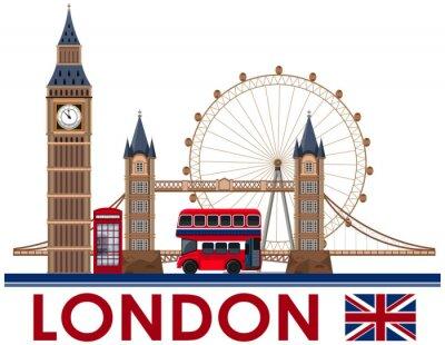 Sticker Landmark de Londres sur fond blanc