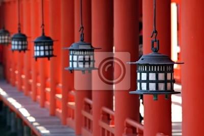 Sticker Lanternes au sanctuaire d'Itsukushima de Miyajima - Japon