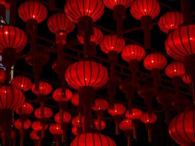 Sticker Lanternes chinoises, Nouvel an chinois.