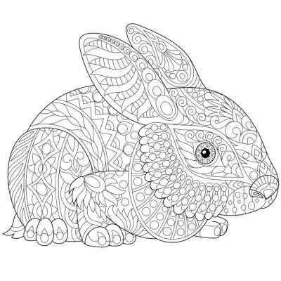 Coloriage Anti Stress Lapin.Lapin Stylise Lapin Lievre Isole Sur Fond Blanc Esquisse