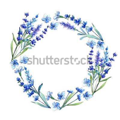 Sticker Lavande bleue. Fleur botanique florale. Cadre de fleurs sauvages de printemps printanier dans un style Aquarelle. Aquarelle wildflower pour le fond, la texture, le motif d'emballage, le cadre ou la bo