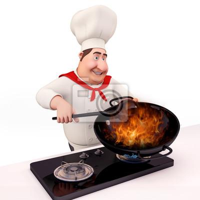 Le chef heureux est la cuisson