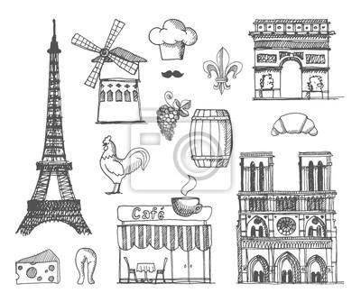 Sticker Le croquis sur la France et Paris