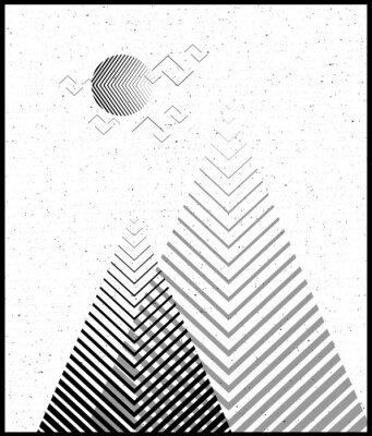 Sticker Le fond du triangle géométrique vectoriel, les montagnes abstraites. Contexte conceptuel, avec les montagnes. Le design flottant, avec des éléments minimaux. Utiliser pour la carte, l'affiche, la broc