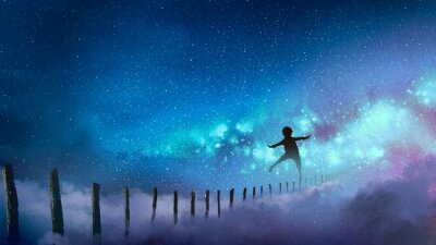 Sticker le garçon en équilibre sur des bâtons de bois contre la voie lactée avec beaucoup d'étoiles, style d'art numérique, peinture d'illustration