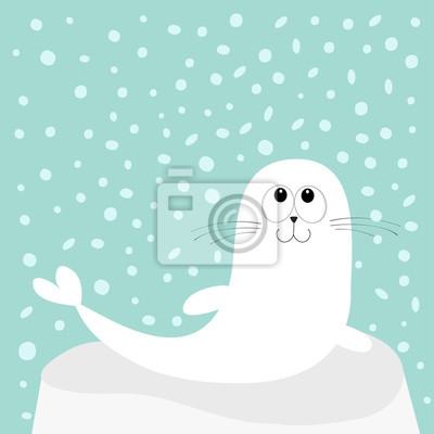 Sticker Le Lion De Mer Blanc Harp Phoque De Sperme Couché Sur De La