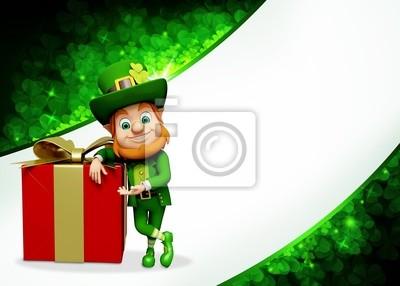 Le lutin pour le jour de st patrick avec boîte-cadeau