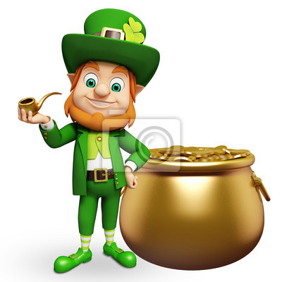 Le lutin pour le jour de st patrick avec des pots d'or