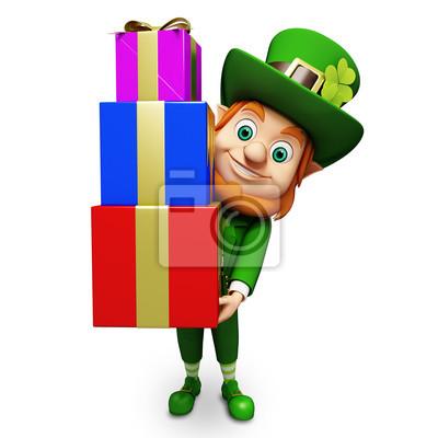 Le lutin pour le jour de st patrick avec des tas de cadeaux