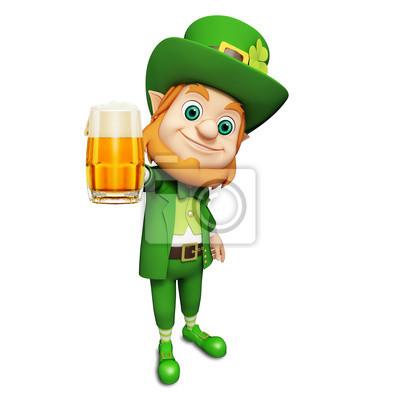 Le lutin pour le jour de st patrick avec un grand verre de bière