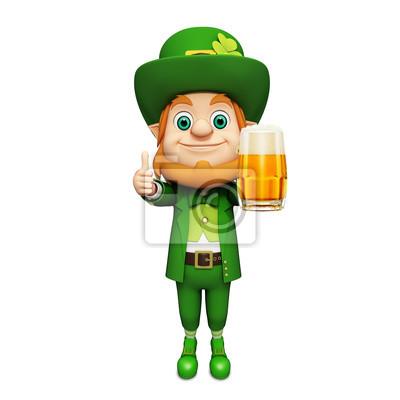 Le lutin pour le jour de st patrick debout avec un grand verre de bière