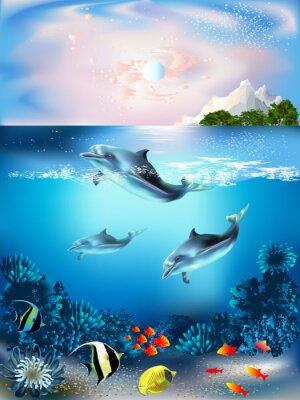 Sticker Le monde sous-marin avec les dauphins et les plantes