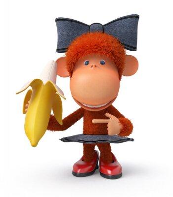 Sticker le petit singe à la banane