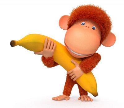 Sticker Le singe avec de la banane