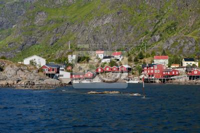 Le village de maisons rouges pêcheur de l'île Lofoten en Norvège