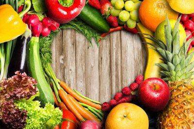 Sticker Légumes et fruits en forme de coeur