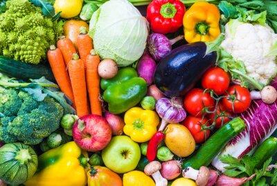 Sticker Légumes et fruits fond.