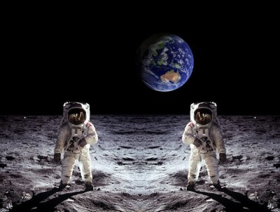 Sticker Les astronautes alunissage de la Terre