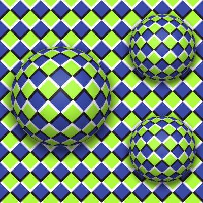 Sticker Les balles roulent vers le bas. Résumé, vecteur, seamless, modèle, optique, illusion, mouvement