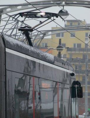Sticker Les décharges à le tram sur le chariot de glace