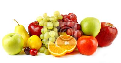 Sticker Les fruits mûrs isolé sur fond blanc