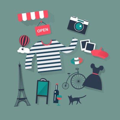 Sticker les jours fériés et vacances vecteur plat icônes mode française et bist