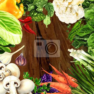 Les légumes bio sur fond de bois