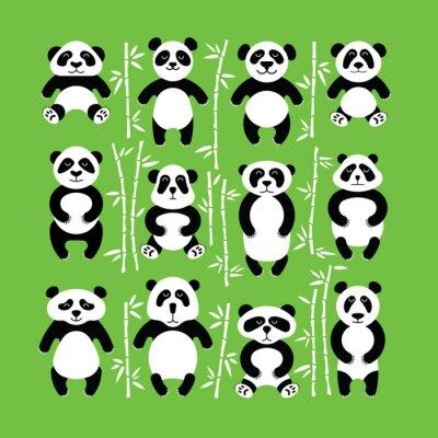 Sticker Les pandas sont à plat. Panda animal isolé.