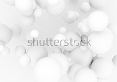 Sticker Les perles blanches volent dans l'espace. Sphère mate boules 3d sont en baisse - rendre illustration. Abstrait élégant fond d'écran