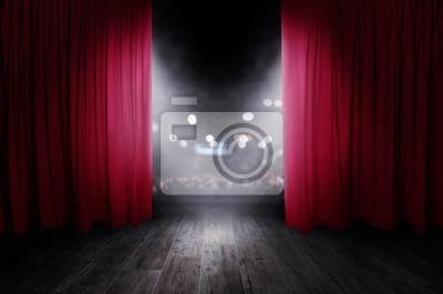 Sticker Les rideaux rouges s'ouvrent pour le spectacle théâtral