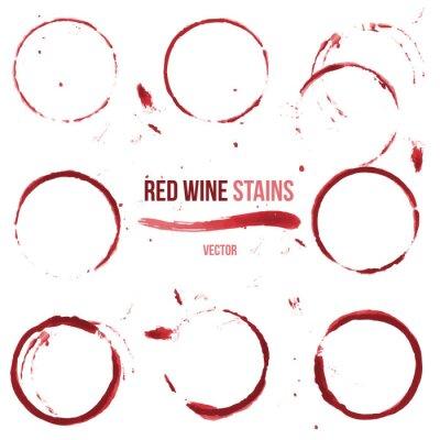 Sticker Les taches de vin rouge sur fond blanc