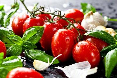 Sticker Les tomates fraîches au basilic et l'ail